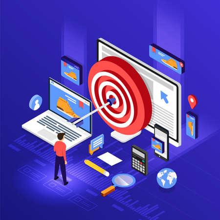 Concept de design plat isométrique Retargeting ou remarketing de marketing numérique. réseau publicitaire de bannière en ligne. Illustrations vectorielles.