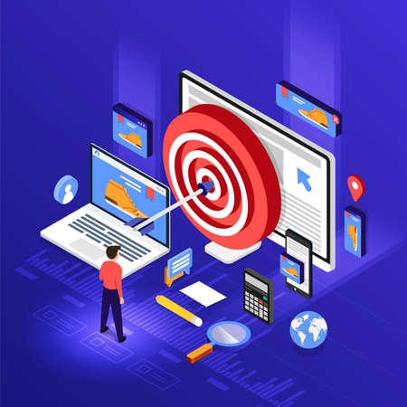 Isometric flat design concept digital marketing retargeting or remarketing. online banner ad network. Vector illustrations. Standard-Bild - 112266448