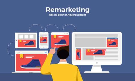 Concetto di design piatto marketing digitale retargeting o remarketing. rete pubblicitaria banner online. Illustrazioni vettoriali.