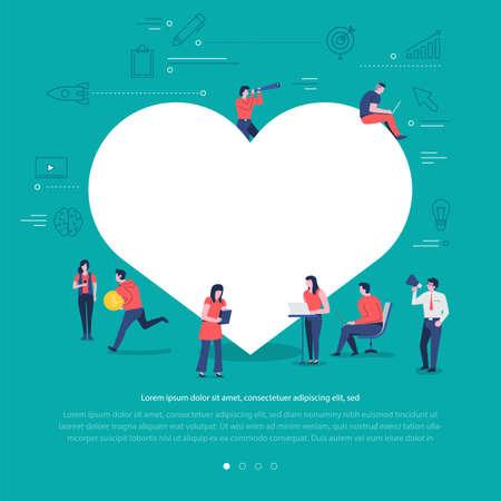 Flat design concept group of peoples work together building social network symbol love buton. Vector illustrations.