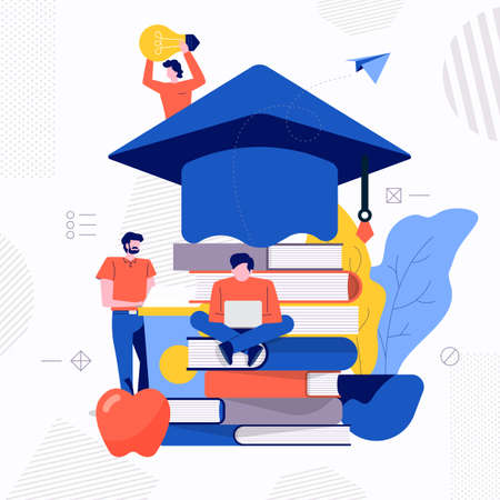 Illustrations design concept teamwork create education e-learning school. Vector illustrate.