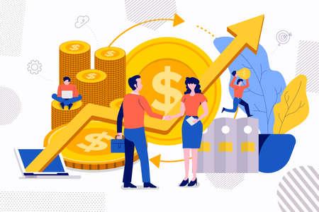 Illustrazioni concetto di design creativo crescita finanziaria investimento di denaro tramite la stretta di mano di uomo e donna di affari di squadra di successo. Il vettore illustra.