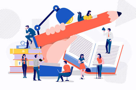 Teamwork businessman creative content writing together archivement for success marketing. Vector illustrations.