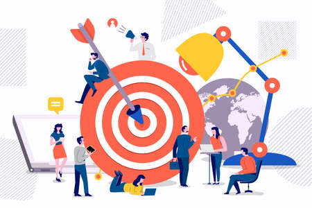 Flat design concept teamwork to build organizational success By setting the right marketing target. Vector illustrations. Иллюстрация