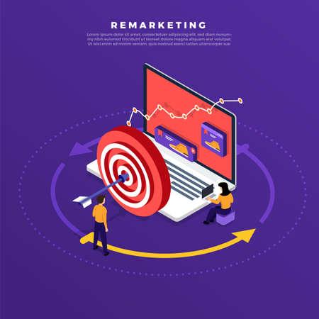 Concetto di design piatto isometrico marketing digitale retargeting o remarketing. rete pubblicitaria banner online. Illustrazioni vettoriali.