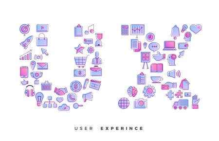 Flat design concept vector icons combination to shape of word UX ( User Experience ). Vector illustrations. 스톡 콘텐츠 - 105754507