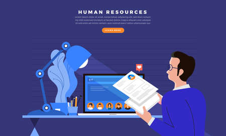 Concept design businessman looking for employee with  human resources recruitment website. Vector illustrations.