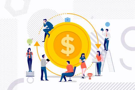 Gruppo di concetto di design piatto di uomo d'affari che lavora una soluzione migliore per il ritorno sull'investimento. Illustrazioni vettoriali. Vettoriali