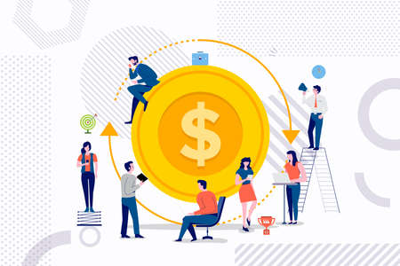 Platte ontwerp concept groep zakenman werken aan een betere oplossing voor rendement op investering. Vector illustraties. Vector Illustratie