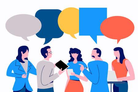 Group of businessman discuss social network teamwork meeting. Vector illustrations. Illustration