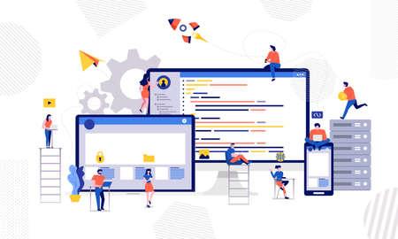Illustrations design developer or programmer development code and website ond desktop mobile device via working together. Vector illustrate.