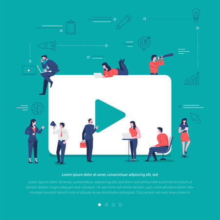 Flat design concept group of peoples work together building social network symbol video play. Vector illustrations.