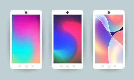Vector set design concept mobile screen wallpaper holographic fluid bright gradient background. Vector illustrations.
