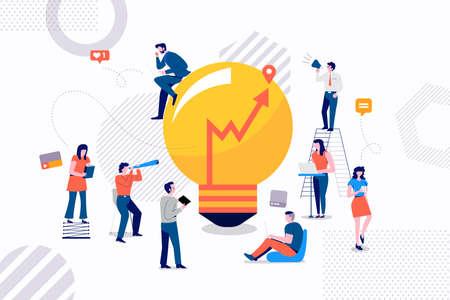 Flast-ontwerpconceptengroep van zakenman die voor goed ideemarketing werken. Vector illustraties.