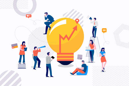 Groupe de concept de design Flast d'homme d'affaires travaillant pour créer une bonne idée de marketing. Illustrations vectorielles.