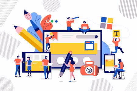 Illustrations design concept teamwork development web design and programming of mobile. Small people are working on creating a website. Vector illustrate.  イラスト・ベクター素材