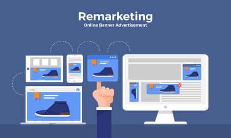 Flat design concept digital marketing retargeting or remarketing. online banner ad network. Vector illustrations. Archivio Fotografico - 112266487