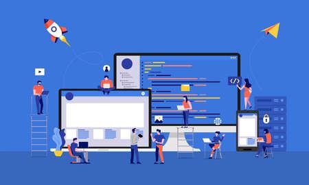Les illustrations conçoivent le code de développement du développeur ou du programmeur et le site Web et l'appareil mobile de bureau en travaillant ensemble. Illustration vectorielle.