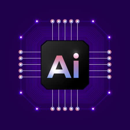 Logo de l'intelligence artificielle. Concept d'intelligence artificielle et d'apprentissage automatique. Réseaux de neurones et autres concepts de technologies modernes Symbole de vecteur AI. Logo