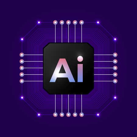 Artificial Intelligence Logo. Artificial Intelligence and Machine Learning Concept. Neural networks and another modern technologies concepts.Vector symbol AI. Illustration
