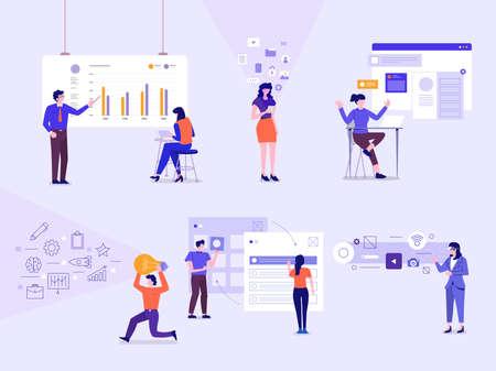 Illustrazioni di personaggi aziendali che si impegnano in una postura d'azione che lavorano sul business e sulla tecnologia tramite un dispositivo di interfaccia grafica. Il set di vettore illustra.