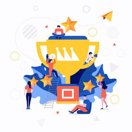 Illustraties plat ontwerpconcept kleine mensen die samenwerken creëren een groot icoon over zakelijk succes. Vector illustreren.