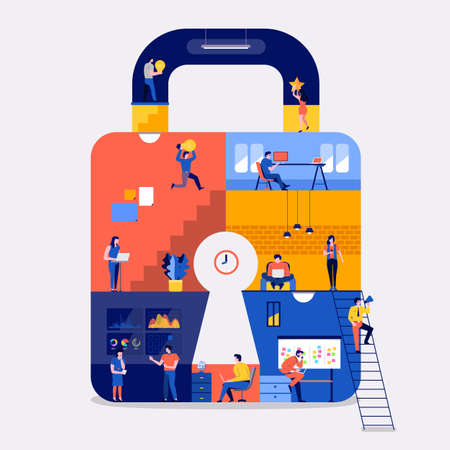 Illustrations flat design concept working space create online platform internet security. Create by small business people working inside. Vector illustrate. Ilustração