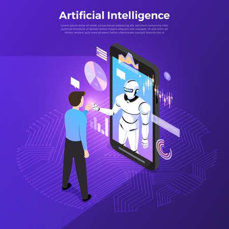 Ilustracje koncepcja sztucznej inteligencji AI. Technologia współpracująca z inteligentnym komputerem mózgowym i urządzeniem łączącym maszynę. Ilustrują izometryczny wektor. Ilustracje wektorowe