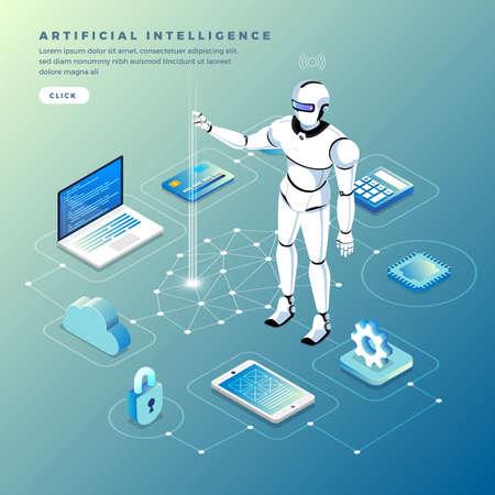 Ilustracje koncepcja sztucznej inteligencji AI. Technologia współpracująca z inteligentnym komputerem mózgowym i urządzeniem łączącym maszynę. Ilustrują izometryczny wektor.
