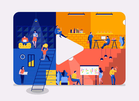Illustrations flat design concept working space building icon video content. Create by small business people working inside. Vector illustrate.