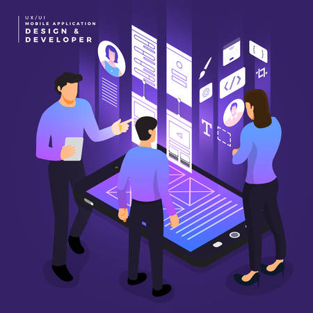 Business concept teamwork of peoples working UI / UX Design and Development mobile application wireframe. Vector illustrations. 向量圖像