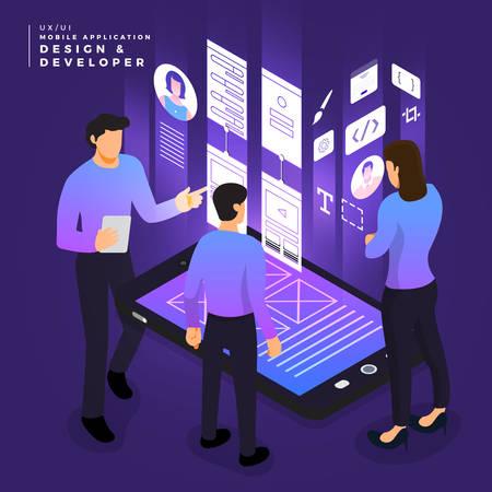 Concepto de negocio trabajo en equipo de personas que trabajan diseño y desarrollo de UI / UX aplicación móvil wireframe. Ilustraciones vectoriales. Ilustración de vector
