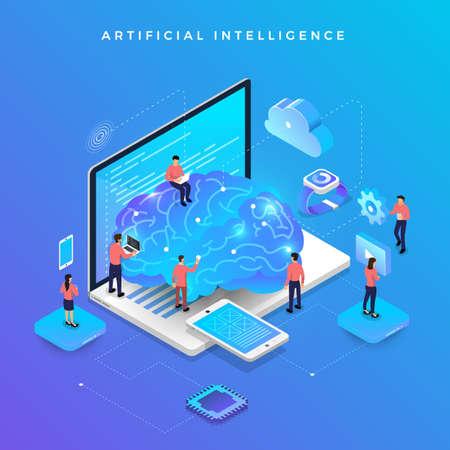 Illustrationen Konzept künstliche Intelligenz KI. Technologie, die mit einem intelligenten Gehirncomputer und einem Maschinenverbindungsgerät arbeitet. Isometrischer Vektor veranschaulichen.