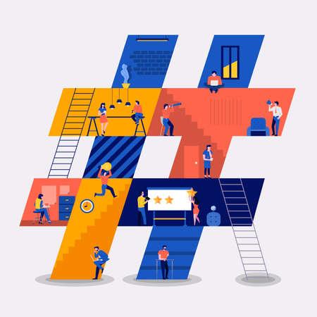 Illustraties plat ontwerp concept werkruimte gebouw pictogrammen hashtag. Creëer door kleine zakenmensen die binnen werken. Vector illustreren.