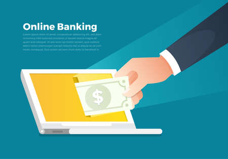 Illustrations concept online banking and money. Hand hold money to screen computer notebook. Vector illustrate.