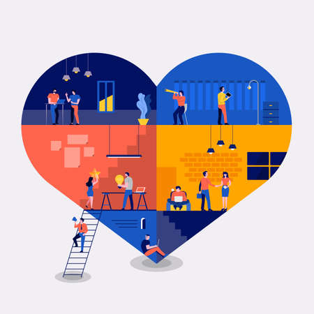 Illustrations flat design concept working space building icons love. Create by small business people working inside. Vector illustrate.