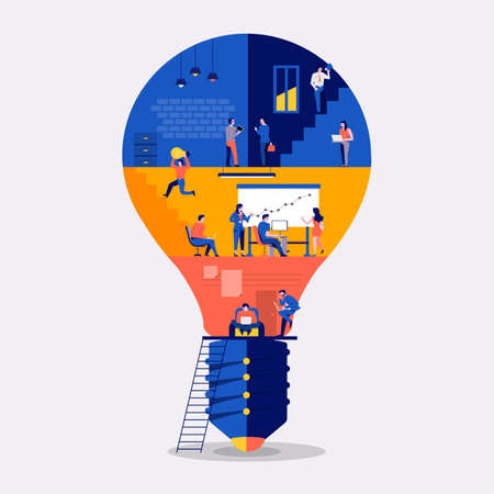 Illustrations flat design concept working space building icon light bulb. Create by small business people working inside. Vector illustrate. 向量圖像