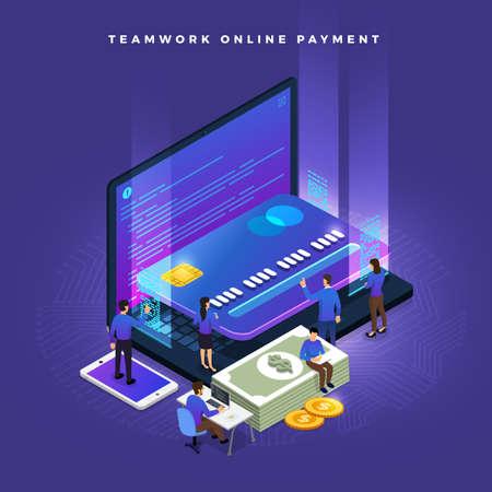 Trabajo en equipo empresarial de los pueblos pequeños que trabajan el concepto de pago en línea mediante tarjeta de crédito. Ilustraciones isométricas vectoriales. Ilustración de vector