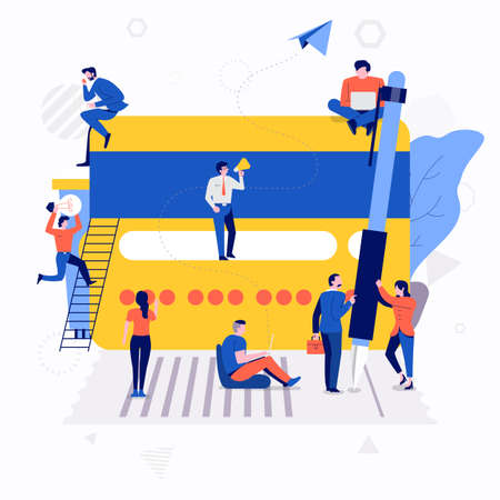 Illustrations flat design concept small people working together create big icon about money payment with credit card. Vector illustrate.