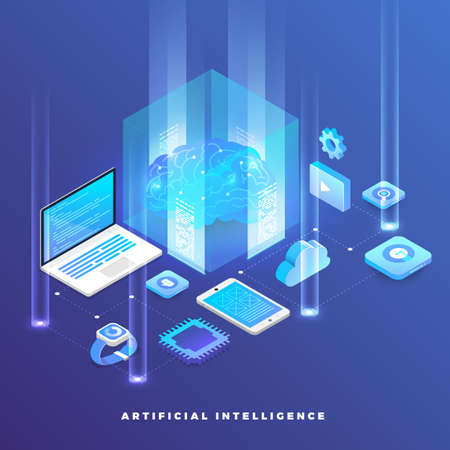 Illustrations concept  artificial intelligence AI. Technology working with smart brain computer and machine connecting device. Isometric vector illustrate. Stock Illustratie