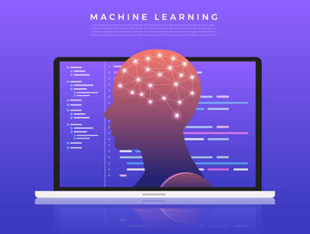 Illustrations concept machine learning via artificial intelligence with technology analysis data and knowledge . Vector illustrate. Illustration