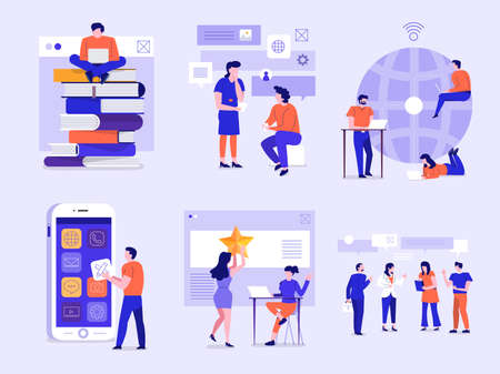Illustrationen von Geschäftsfiguren, die eine Aktionshaltung einnehmen, die über das grafische Schnittstellengerät an Geschäft und Technologie arbeitet. Vektorsatz veranschaulichen.