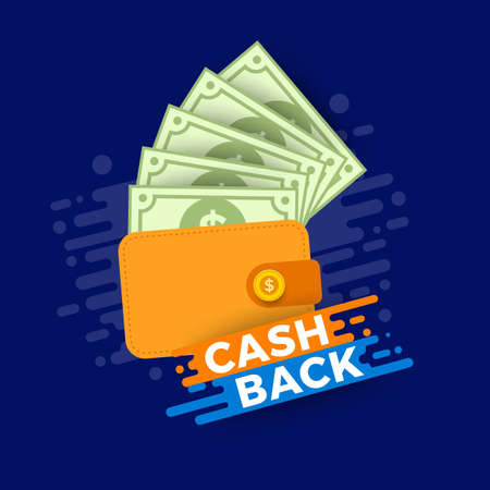 Vector illustrations concept cash back or money payment. Present with bank paper and coin. Flat design illustrate.