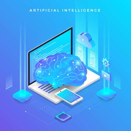Illustraties concept kunstmatige intelligentie AI. Technologie die werkt met een slimme hersencomputer en een apparaat dat een machine verbindt. Isometrische vector illustreren.