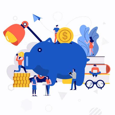 Illustrationen flaches Designkonzept kleine Leute, die zusammenarbeiten, schaffen große Ikonen über Geldeinsparungen. Vektor veranschaulichen.