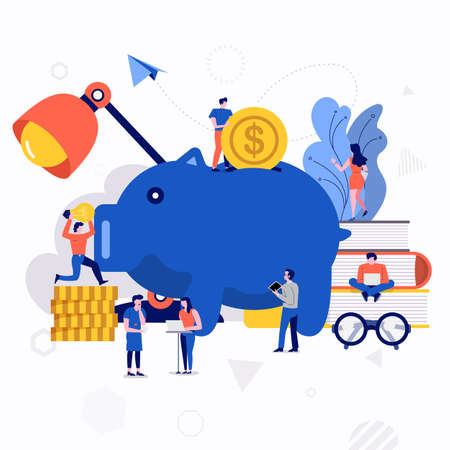 Ilustracje płaska koncepcja projektowania małych ludzi pracujących razem tworzą dużą ikonę o oszczędzaniu pieniędzy. Wektor ilustrują.