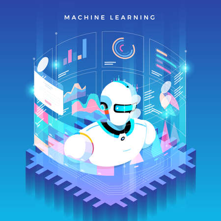Illustrations concept machine learning via artificial intelligence with technology analysis data and knowledge . Vector isometric  illustrate. Иллюстрация