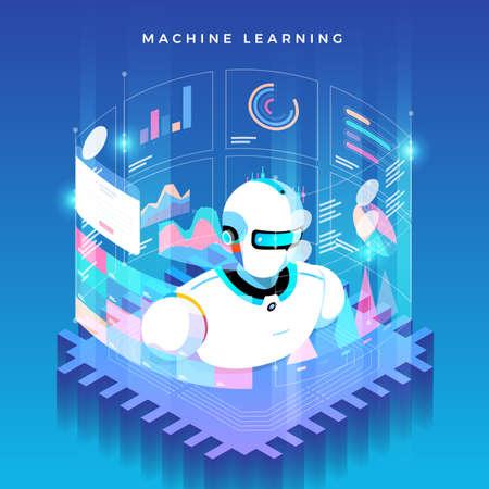 Illustrazioni concept machine learning tramite intelligenza artificiale con dati e conoscenze di analisi tecnologica. Illustrare isometrico di vettore.