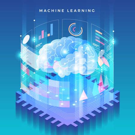Concepto de ilustraciones de aprendizaje automático mediante inteligencia artificial con datos y conocimientos de análisis de tecnología. Ilustración isométrica del vector.