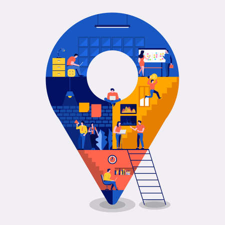 Illustrations flat design concept working space building icons pin location. Create by small business people working inside. Vector illustrate.